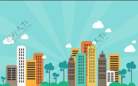 可爱城市背景图网页背景图城市背景图