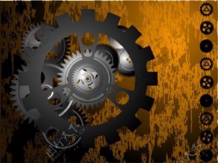 矢量金属元素海报机械设计