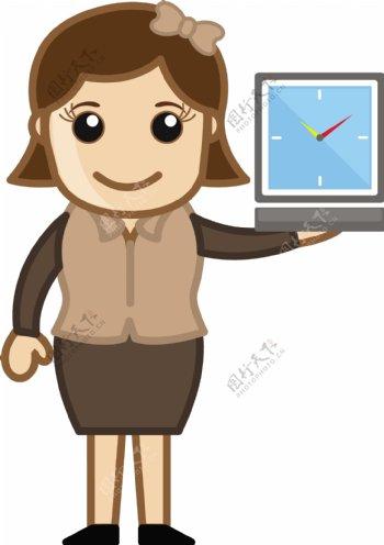 女孩子看时间的流逝卡通商业矢量插图