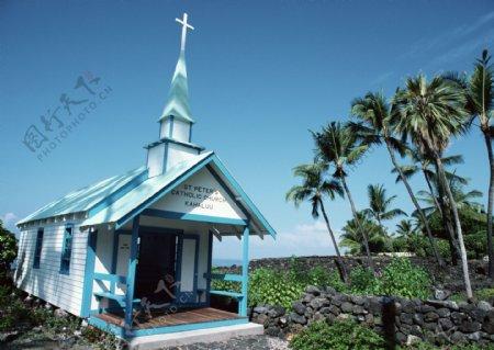 蓝色天空海岛风情旅游观光椰树异国风情