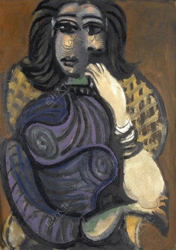 1940Femmedansunfauteuil西班牙画家巴勃罗毕加索抽象油画人物人体油画装饰画