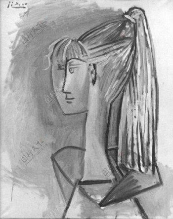1954PortraitdeSylvetteDavid02西班牙画家巴勃罗毕加索抽象油画人物人体油画装饰画