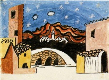 1919Projetpourled淇rLeTricorne西班牙画家巴勃罗毕加索抽象油画人物人体油画装饰画