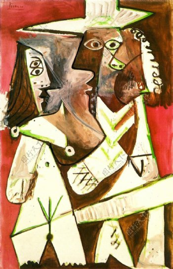 1969Hommeetenfant西班牙画家巴勃罗毕加索抽象油画人物人体油画装饰画