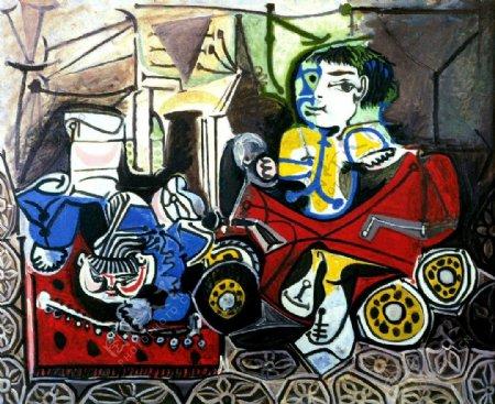 1950ClaudeetPalomajouant西班牙画家巴勃罗毕加索抽象油画人物人体油画装饰画