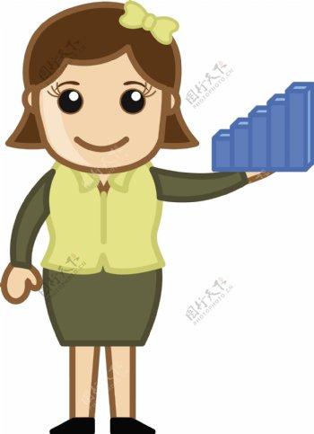 妇女抱着一个统计图棒玩具卡通商业矢量插图