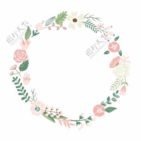 花框可爱复古花的形状设置联合国环完美的婚礼请柬和生日卡片