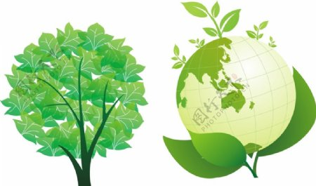 树木地球矢量图片
