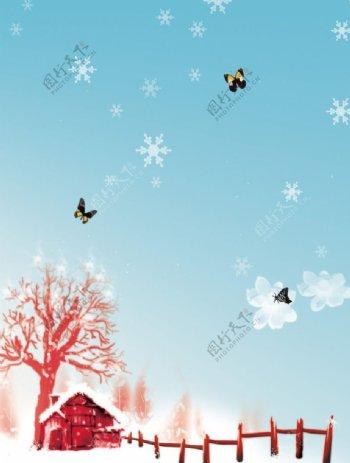 飘雪蝶舞蝴蝶雪下雪房屋屋子树木树图片