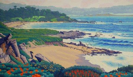 版画海景图片