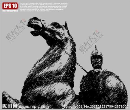 武士雕塑矢量剪影图片