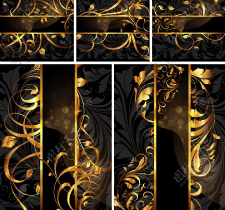 金色动感线条古典欧式花纹卡片图片