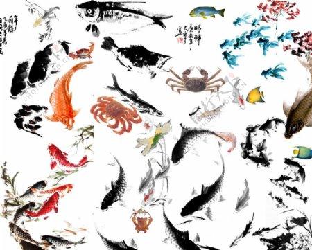 水墨鱼素材图片