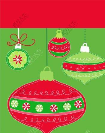 圣诞球圣诞纸袋圣诞图案