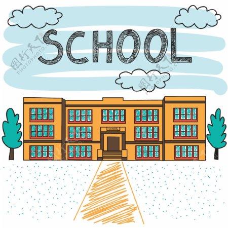 手绘学校建设