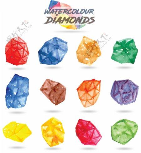 手绘水彩钻石集合