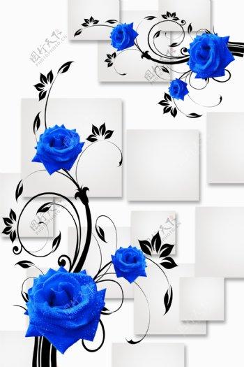 3D方片蓝玫瑰玄关画