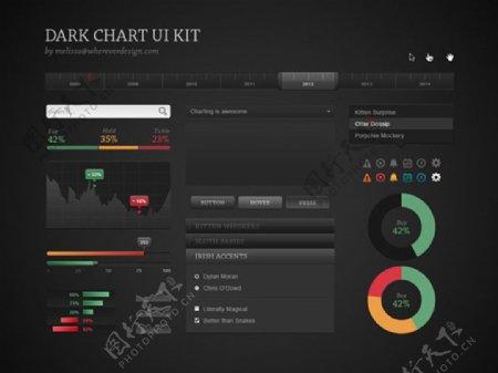 黑色风格UI元素PSD素材