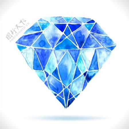 蓝色水彩钻石