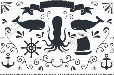 手绘鲨鱼船锚标签等矢量素材