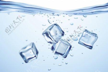 圆形标签水珠水滴冰块蓝色水纹标签