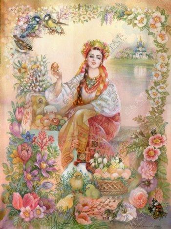 坐在地上的古代欧洲美女插画图片