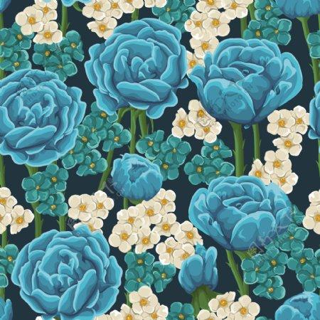 蓝玫瑰花卉无缝背景矢量素材