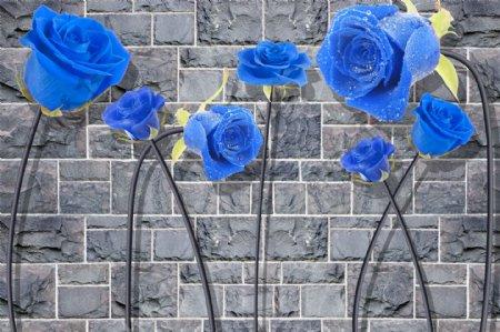 蓝玫瑰砖墙背景