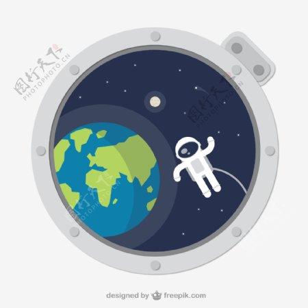太空舱外的宇航员和地球矢量图