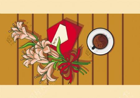 手绘百合花花卉素材