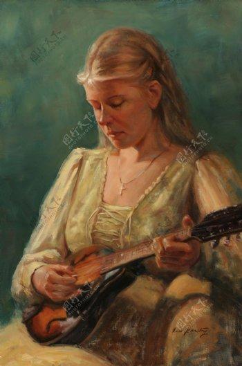 弹琴的古代欧洲美女油画图片