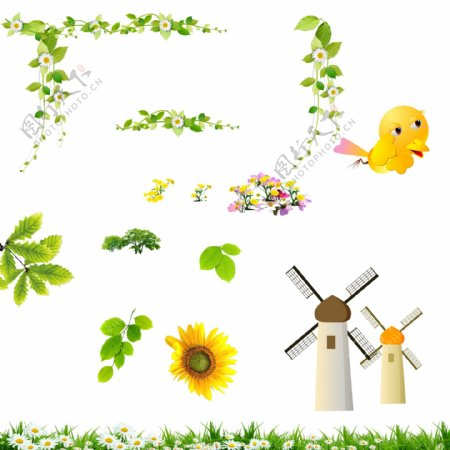 小鸟向日葵树木花草