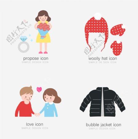 卡通人物毛衣服装素材设计