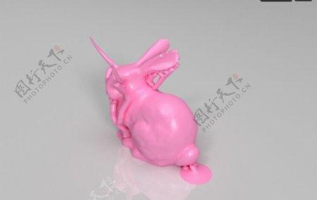长角的兔3D打印模型