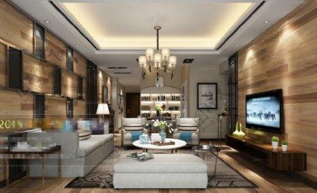 欧式客厅空间3D模型素材