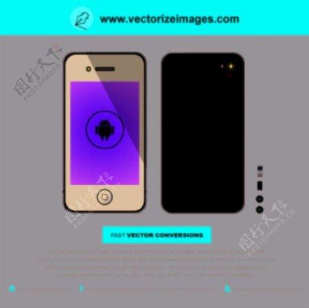 现实的黑色iPhone5正面和背面