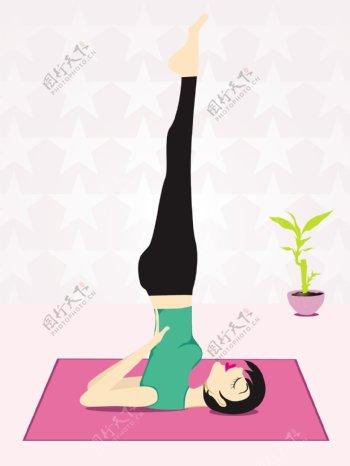 女明星的背景做瑜伽