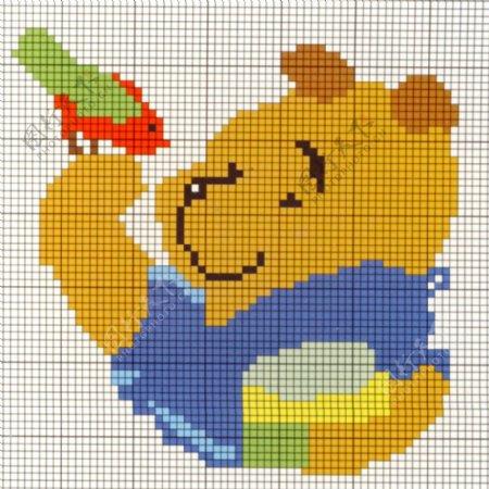 毛衫图案动物小熊维尼维尼熊小鸟免费素材