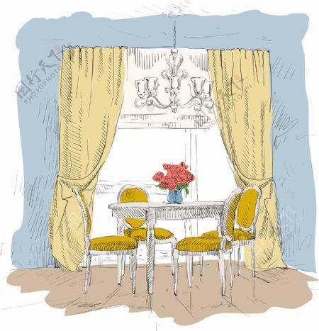 手绘家居餐厅插画