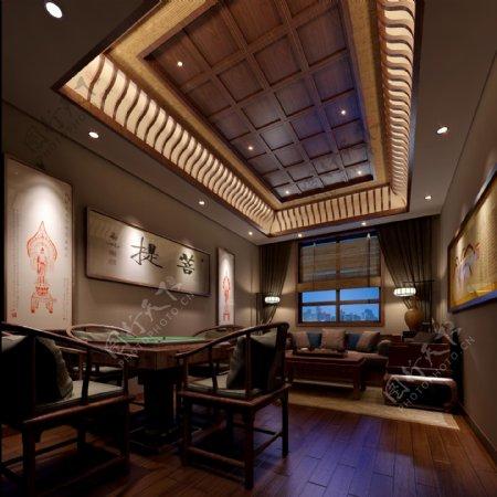 古典菩提麻将桌椅装修实景图