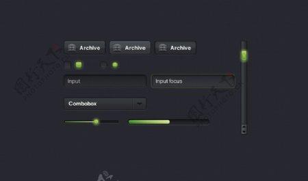 黑色UI元素主题包
