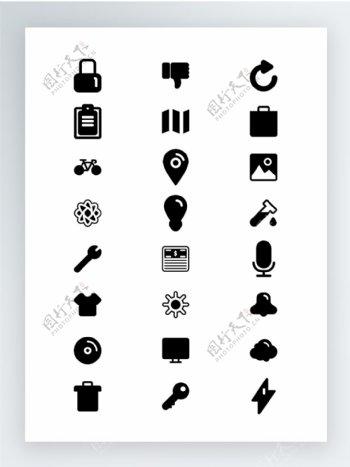 ios7风格的黑白填充图标集