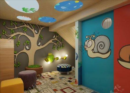 学校阅读角楼梯口3D设计