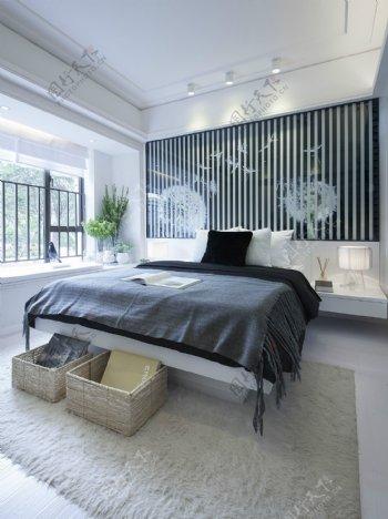 现代简约卧室黑白条纹壁纸杂物筐效果图