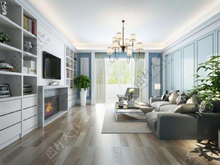 美式清新客厅淡蓝色背景墙室内装修效果图