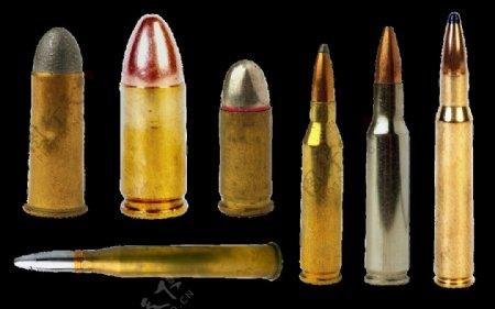 各种型号的子弹免抠png透明图层素材