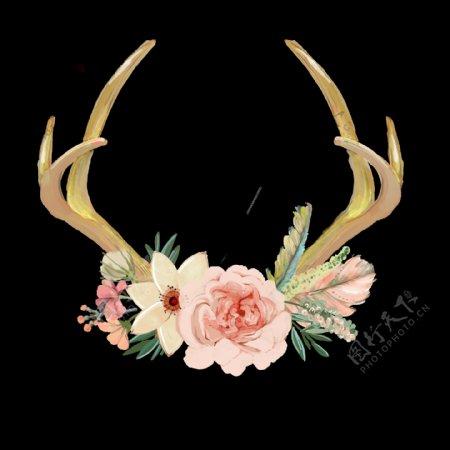 手绘另类鹿角花环png透明素材