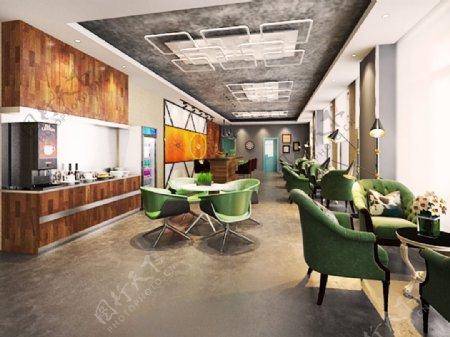 室内设计3D设计小餐厅娱乐室时尚咖啡屋