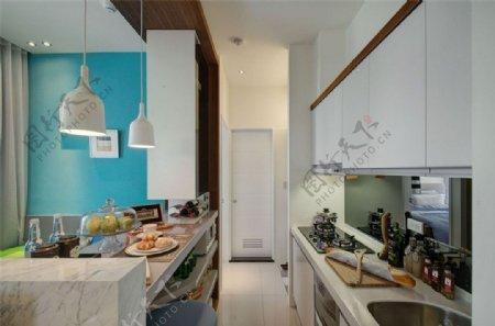 现代清新客厅浅蓝色背景墙室内装修效果图