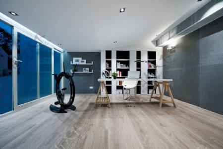 现代客厅亮蓝色背景墙室内装修效果图